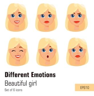 Jonge aantrekkelijke dame met verschillende emoties