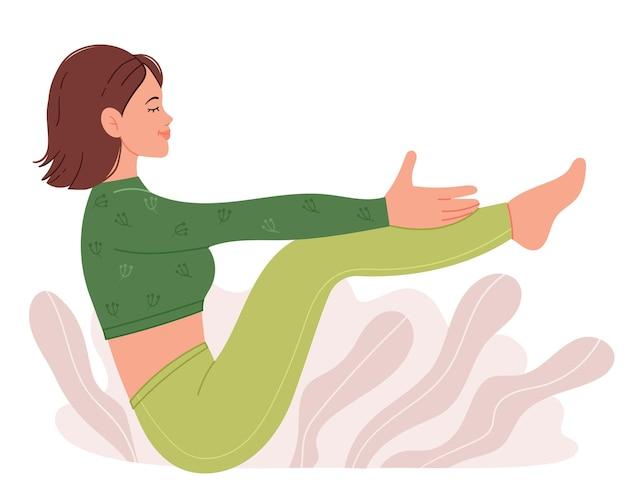 Jonge aantrekkelijke vrouw beoefenen van yoga in paripurna navasana pose