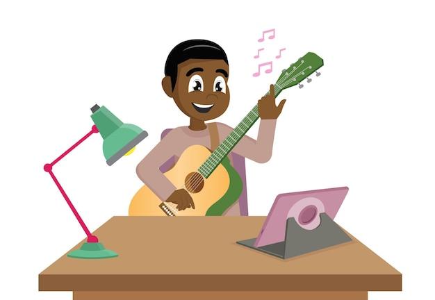 Jonge afrikaanse man die online muzieklessen neemt bij homevector eps10
