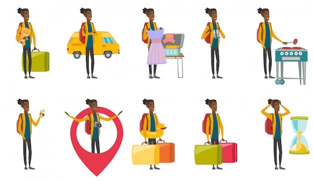 Jonge afrikaanse reiziger ingesteld