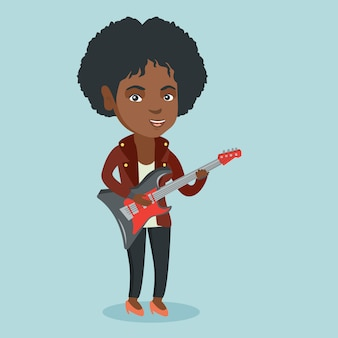 Jonge afrikaanse vrouw die de elektrische gitaar speelt.