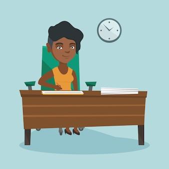Jonge afrikaanse zakenvrouw ondertekening van documenten.