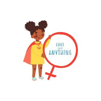 Jonge afro-amerikaanse meisje in een superheld pak houdt een teken van venus
