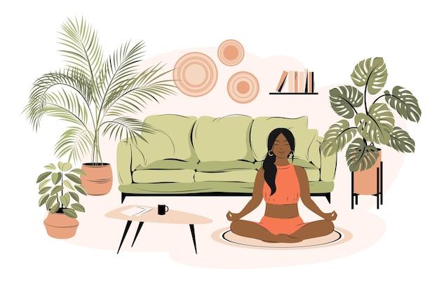 Jonge afro-amerikaanse vrouw die met gekruiste benen in haar huis zit, yoga beoefent en geniet van meditatie. concept voor yoga, ontspanning, recreatie, gezonde levensstijl. vector illustratie