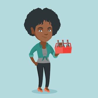 Jonge afro-amerikaanse vrouw met pack van bier.