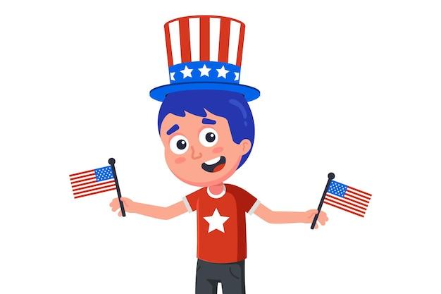 Jonge amerikaan in hoed en met vlaggen die onafhankelijkheidsdag vieren. platte karakter illustratie geïsoleerd op een witte achtergrond.