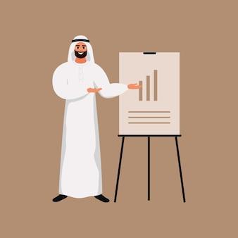 Jonge arabische man maakt een presentatie en wijst naar een grafiekbord.