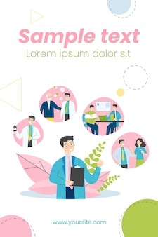 Jonge arts en zijn werkroutine in ziekenhuisillustratie