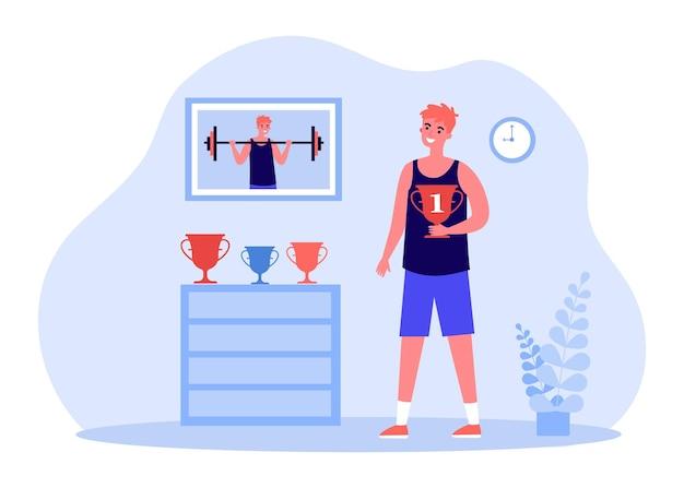 Jonge atleet die gouden beker houdt en trofeeën bekijkt. foto van jongen opheffing barbell op muur platte vectorillustratie. prestatie, sportconcept voor banner, websiteontwerp of bestemmingswebpagina