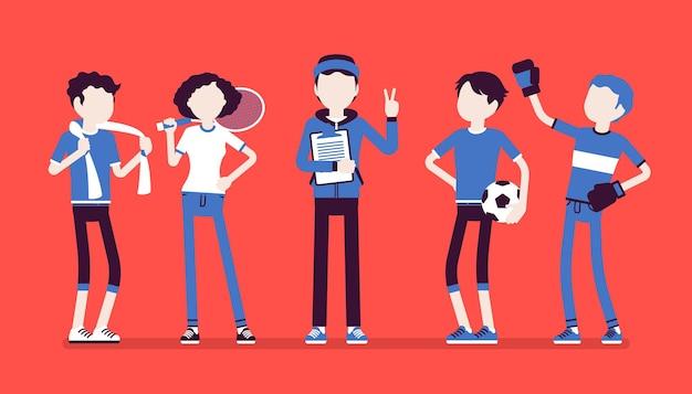 Jonge atleten, professionele sportieve mensen, mannelijke coach. sporters en instructeur, die gezond leven onderwijzen, sportvaardigheden verbeteren, winnen, prestaties behalen. vectorillustratie, gezichtsloze karakters