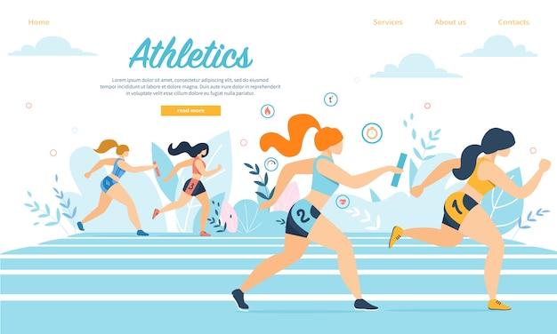 Jonge atletiek sportvrouwen nemen deel aan estafetteloop die op stadion met stokken loopt