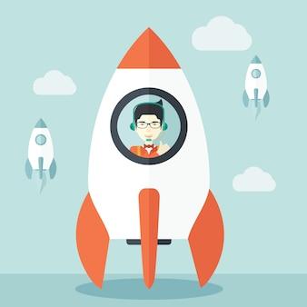 Jonge aziatische kerel in kant de raket.