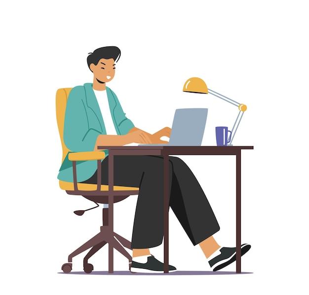 Jonge aziatische man student karakter werk op laptop zittend aan bureau in slaapzaal