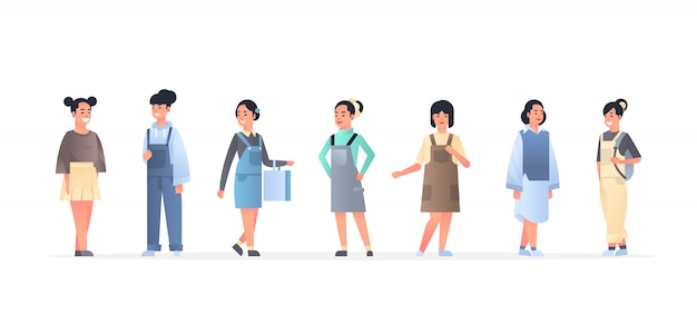 Jonge aziatische vrouwengroep die vrijetijdskleding dragen gelukkige aantrekkelijke meisjes die zich chinese of japanse vrouwelijke beeldverhaalkarakters verenigen