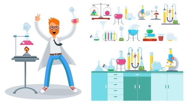 Jonge, bebaarde mannelijke wetenschapper in het laboratorium.