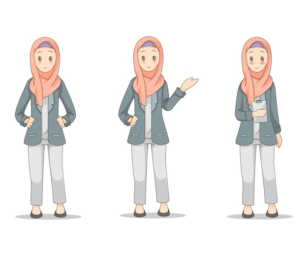 Jonge bedrijfsvrouw die hijab sluier draagt