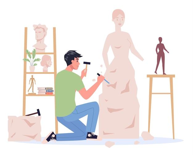Jonge beeldhouwer aan het werk. een sculptuur van het marmer maken. creatieve kunstenaar. kunst en hobby.