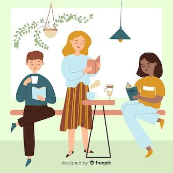 Jonge beste vrienden die samen geïllustreerde tijd doorbrengen