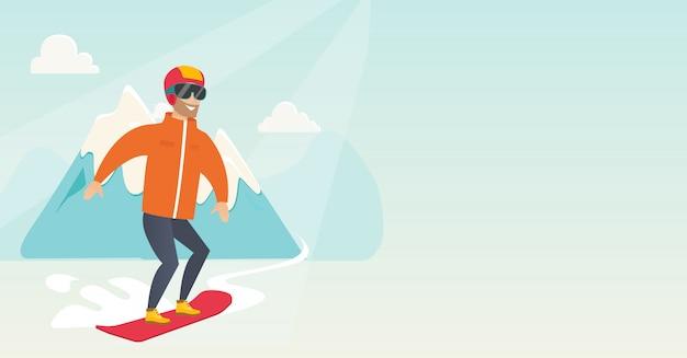 Jonge blanke man snowboarden.