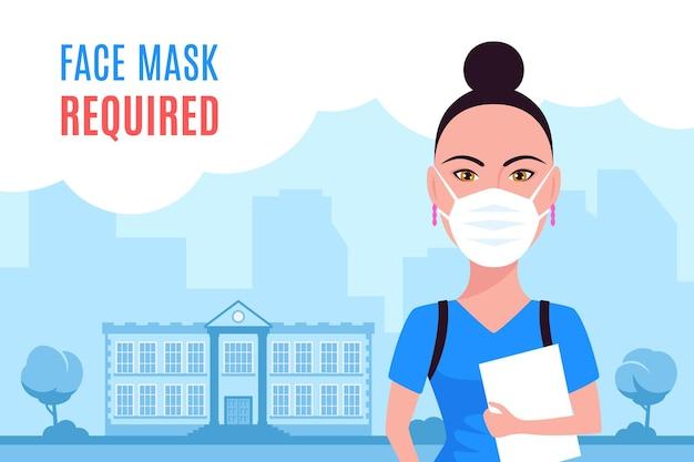 Jonge blanke vrouw die gezichtsmasker draagt en zich voor universiteits- of hogeschoolgebouw bevindt. vlakke stijl illustratie
