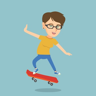 Jonge blanke vrouw rijden skateboard.