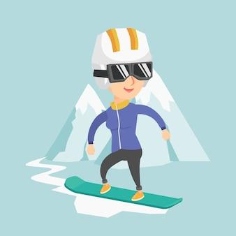 Jonge blanke vrouw snowboarden.