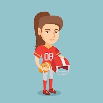 Jonge blanke vrouwelijke rugbyspeler.