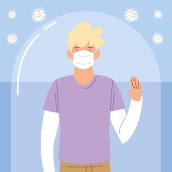 Jonge blonde man met beschermend masker tijdens coronavirus covid 19