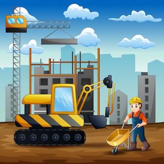 Jonge bouwer aan het werk op de bouwplaats