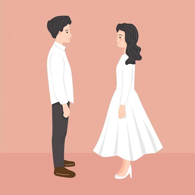 Jonge bruid en bruidegom staren elkaar illustratie