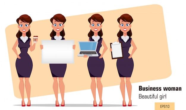 Jonge cartoon zakenvrouw set