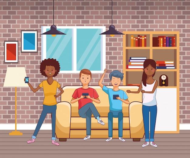 Jonge casual mensen cartoon