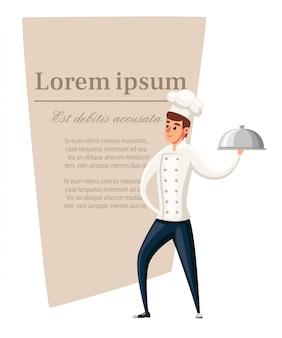Jonge chef-kok. illustratie op witte achtergrond. stripfiguur . glimlachende man, chef-kok met zilveren schotel. plaats voor tekst op bruin gebied.