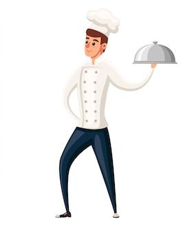 Jonge chef-kok. illustratie op witte achtergrond. stripfiguur . glimlachende man, chef-kok met zilveren schotel