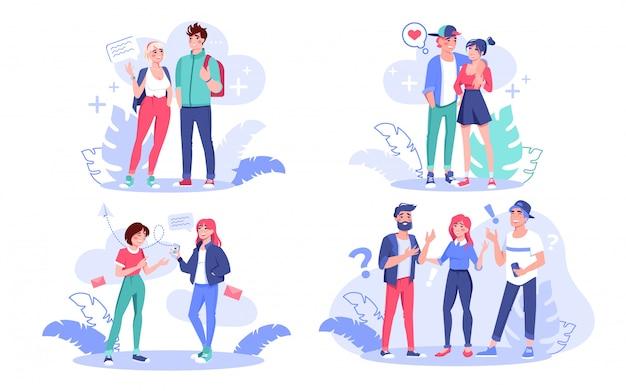 Jonge creatieve moderne mensen, collega, liefdevolle vriendin vriendje, tiener vriend, student praten communicerende set. digitale technologie voor communicatie tussen man en vrouw, vriendschapsconcept