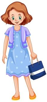 Jonge dame met boodschappentas