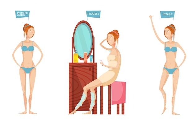 Jonge die vrouw voor spiegel vóór en na epilation of ontharing op witte vlakke achtergrond wordt geïsoleerd