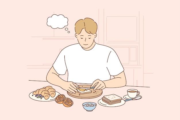 Jonge doordachte glimlachend peinzende man jongen teken toast maken