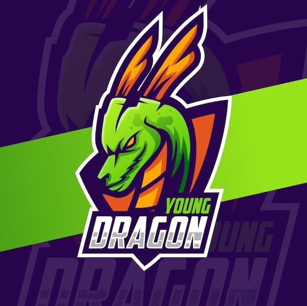 Jonge draak mascotte esport logo ontwerp