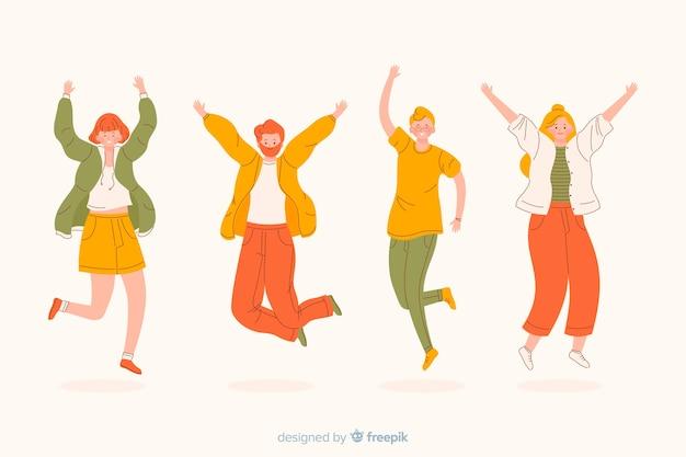 Jonge en gelukkige mensen die springen