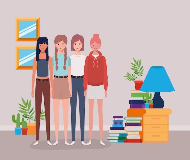 Jonge en mooie meidengroep in het huis