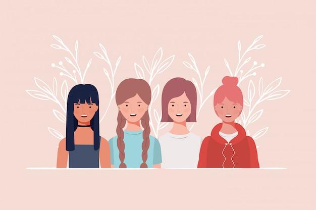 Jonge en mooie meisjes groeperen karakters