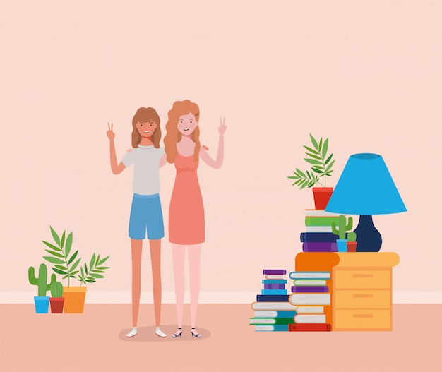 Jonge en mooie meisjes koppelen in het huis