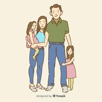 Jonge familie in koreaanse tekenstijl