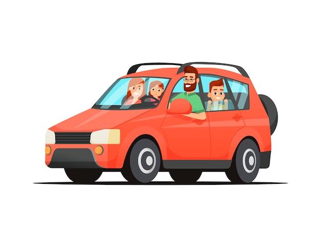 Jonge familie reizen op een rode auto. gelukkige familie reizen met de auto vader, moeder, zoon en dochter.