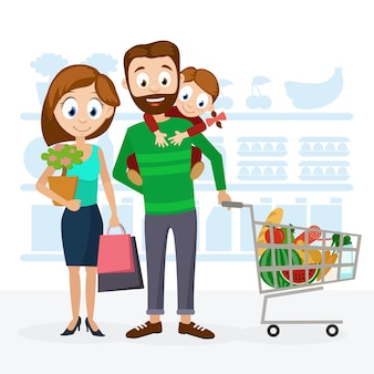 Jonge familie vader, moeder en dochter in de supermarkt winkelen en glimlachen.