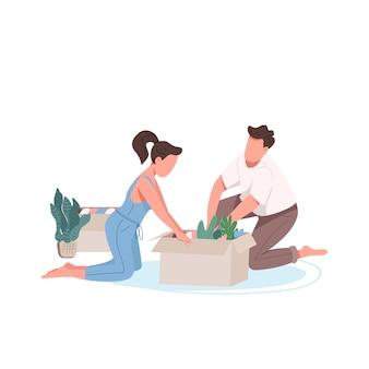Jonge familie verpakking vakken egale kleur anonieme karakters. echtpaar beweegt. vriend en vriendin planten samen bloemen geïsoleerde cartoon afbeelding