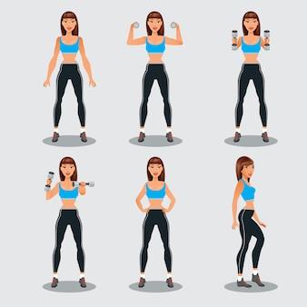 Jonge fitness vrouw met halters. sportieve meisje uit te oefenen. vector illustratie