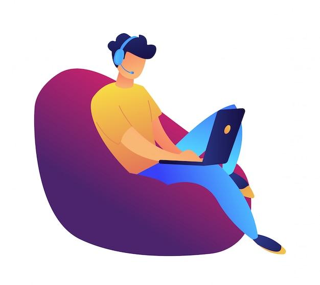 Jonge gebruiker die met laptop in leunstoel vectorillustratie werkt.