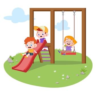 Jonge geitjeskinderen die speelplaatsillustratie spelen